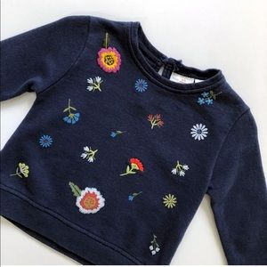 Zara BabyGirl 3-6 mo Navy Floral Sweatshirt